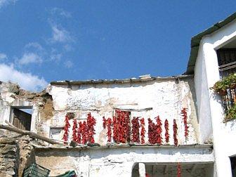 Foto vom traditionellem trocken von Paprika am Haus